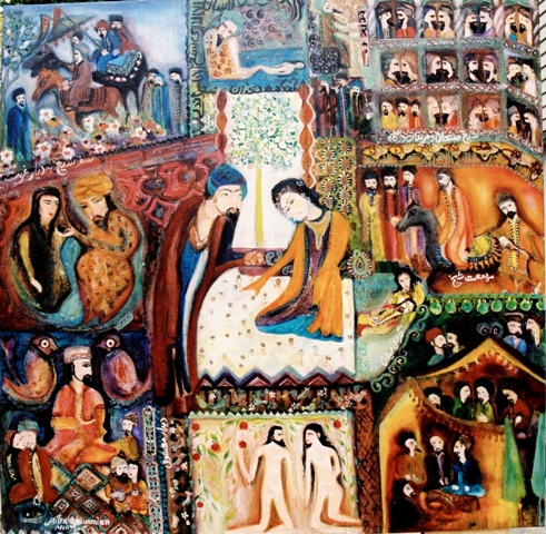 3- Persian Love story- Sheikh of San'an Mixed media